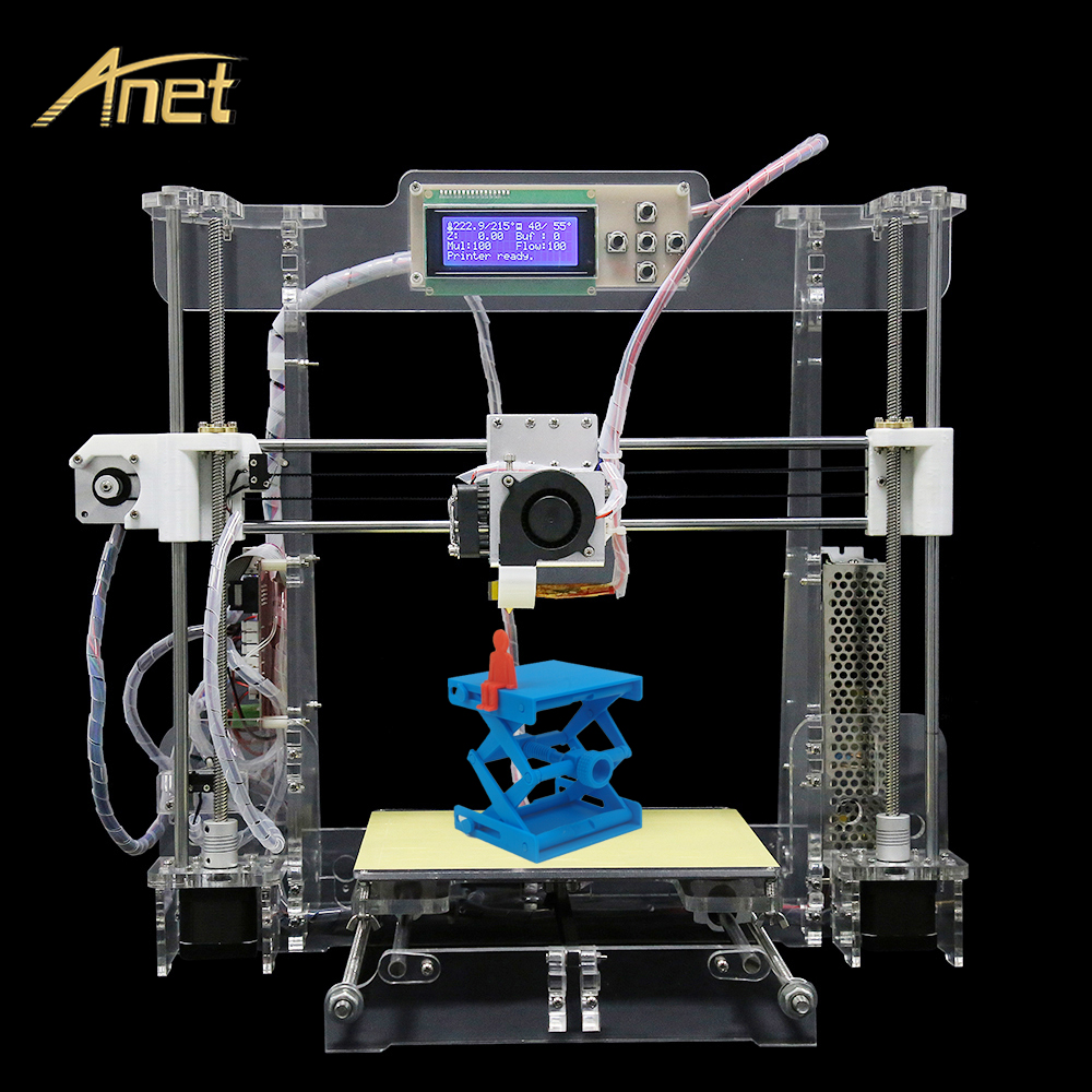 Anet Full Arcylic High Precision A8 3D Printer Machine 3D Print with Big Size 220*220*240 With10m Filament &Card& LCD&Video Free