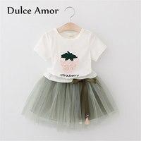 Dulce Amor Baby Girls Clothes Set 2018 Summer Pearl Bow T Shirt Net Veil Skirt Kids