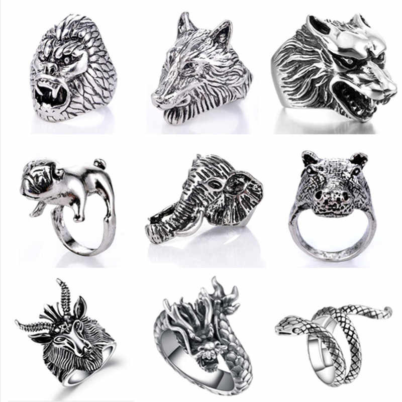 Gothic Punk Ring Men Fashion Retro Dragon Snake Tiger Dog Elephant animal Male Ring jewelry Halloween Accessories Anillo Hombre