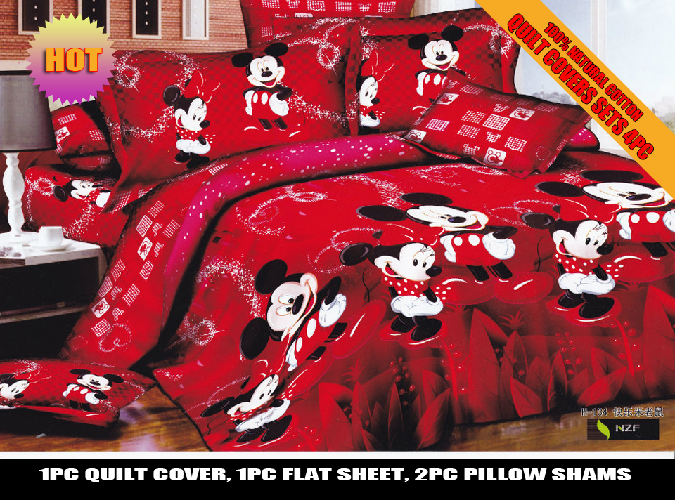 Red Wedding Mickey Minnie Mouse Bedding Set Comforter Quilt Duvet Covers Single Twin Full Queen King Size Bed Sheets Girls Adult