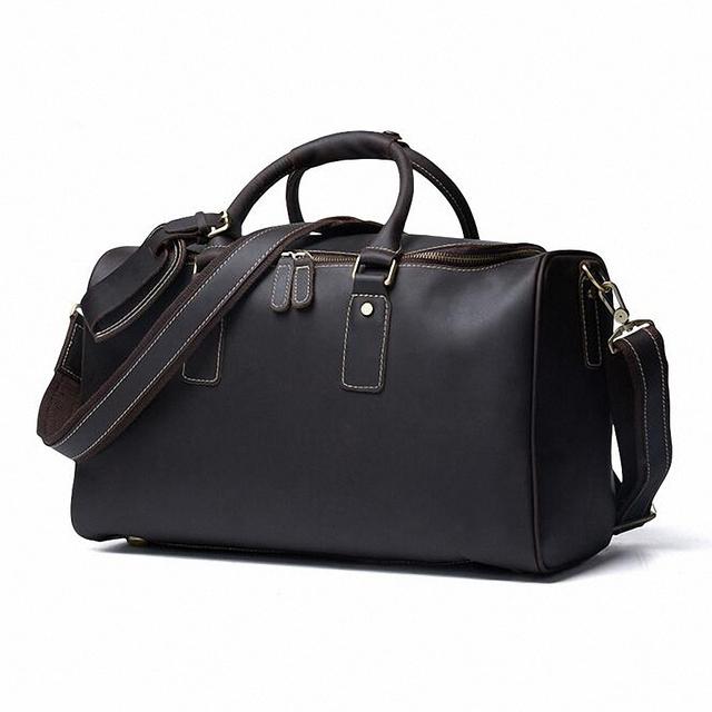 Cavalo Louco do vintage de couro genuíno dos homens sacos de viagem grande bagagem & sacos de duffle sacos de tote Grande LI-1774
