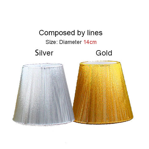 Gold Wall Lamp Shades : 14cm Modern gold and silver chandelier lampshade, Pull line fabric wall light lamp shades, Clip ...