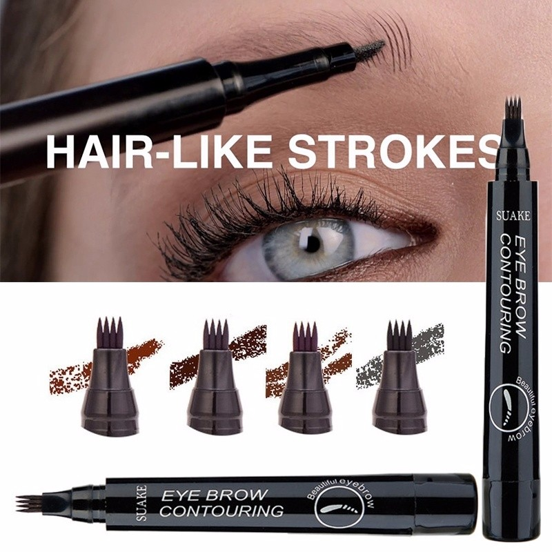 Microblading Eyebrow Pencil Tint 4 Tip Brow Tattoo Pen 4 Colors Paint Makeup Eyebrows Waterproof Cosmetic Eyebrow Pencil TSLM2 1