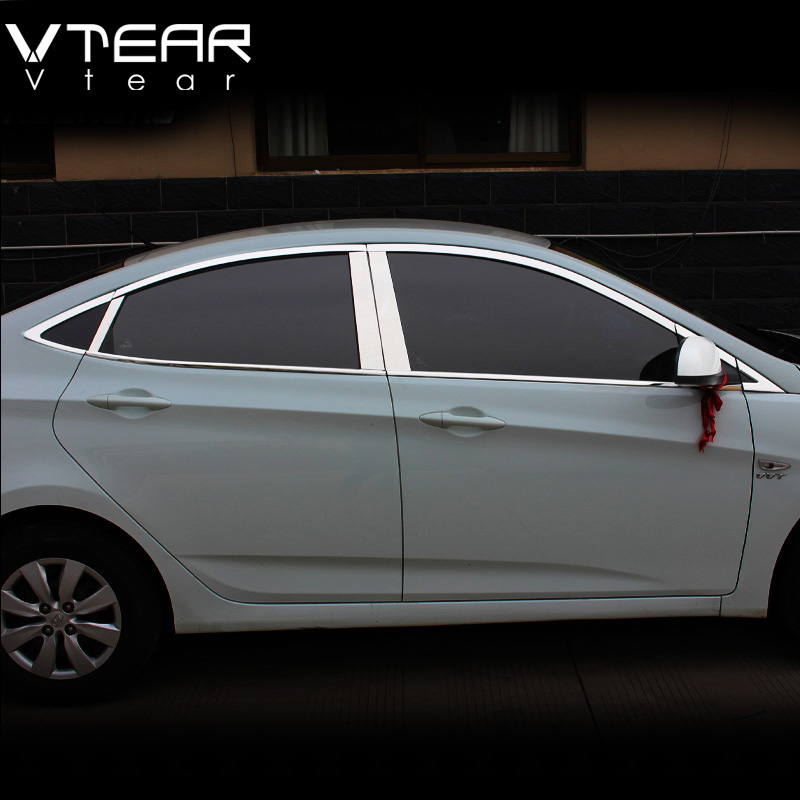 Vtear For Hyundai Solaris window trim cover Exterior body decoration chrome car styling products accessory part 2010 2015