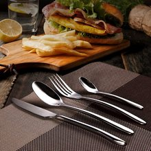 NEW Dinnerware Set Quality 4 Pieces Flatware Food Grade Stainless Steel Cutlery Set Knife Fork Spoon Family Tableware Best Gift
