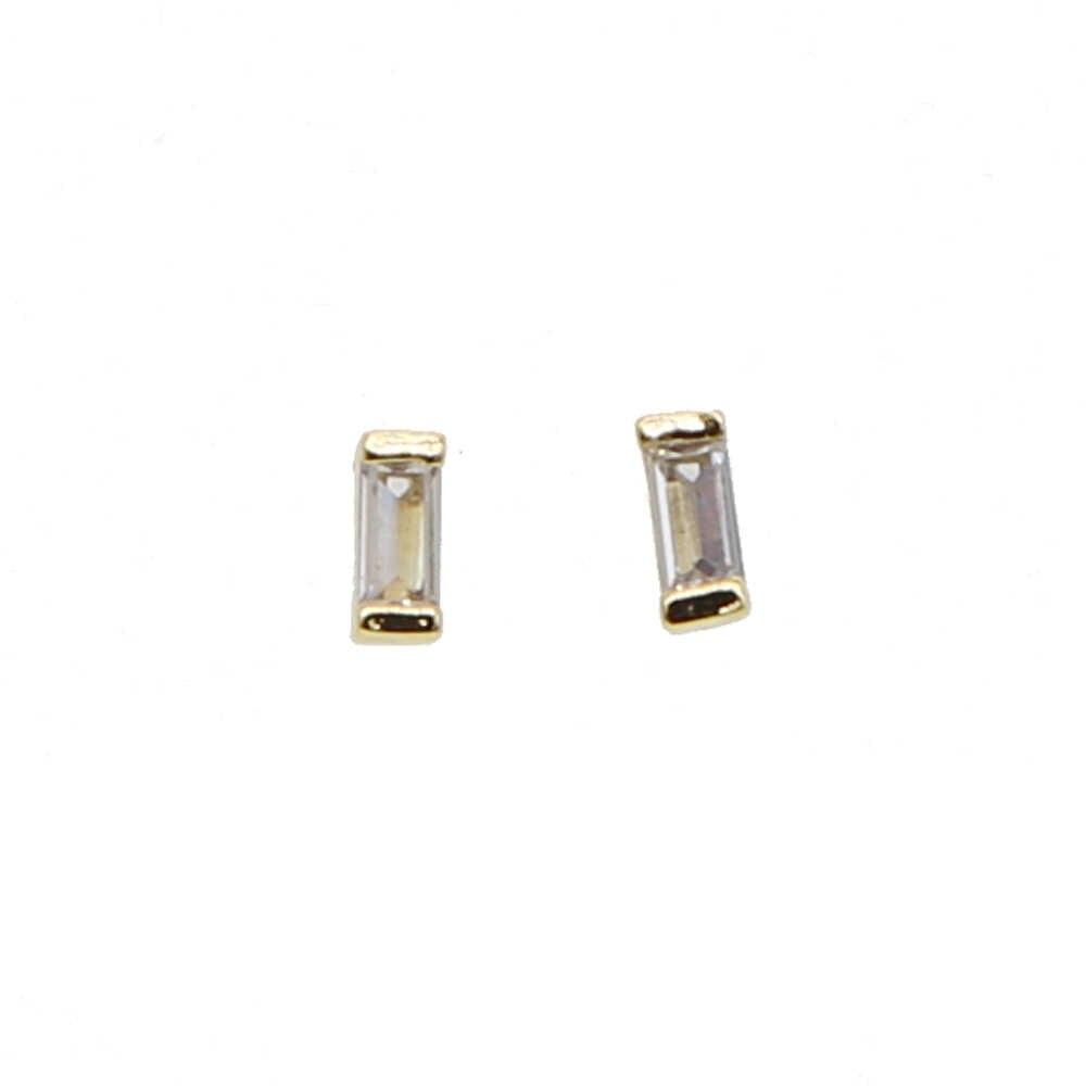 2*4mm bezel baguette cubic zirconia ง่าย minimal วินาที studs สาวน่ารักต่างหู