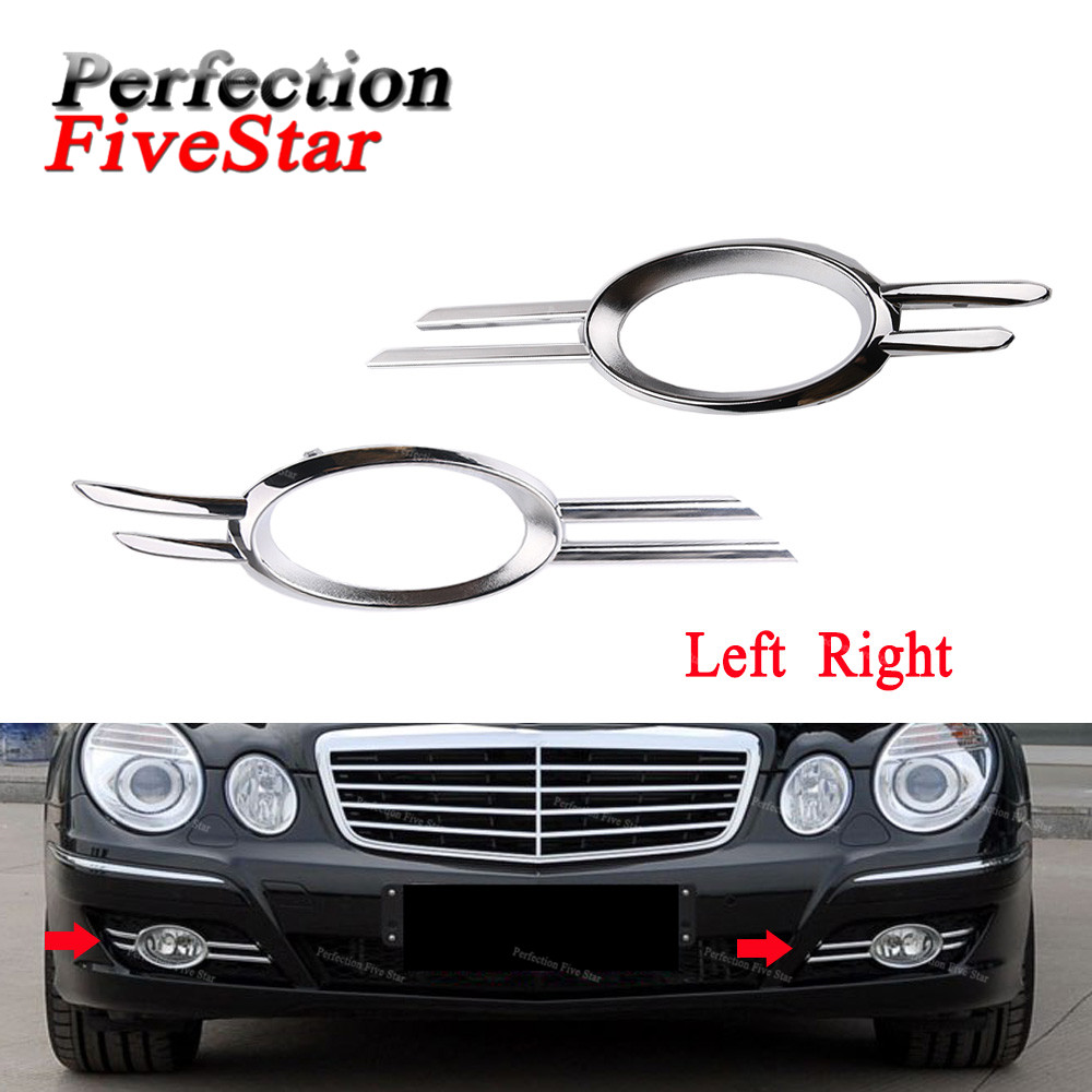 New Set of 2 Grille Trims Front Driver /& Passenger Side for Mercedes Chrome Pair