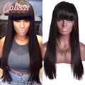 Coleen Brazilian Straight Full Lace Wig Glueless Lace Front Human Hair Wigs With Bangs Full Lace Human Hair Wigs For Black Women