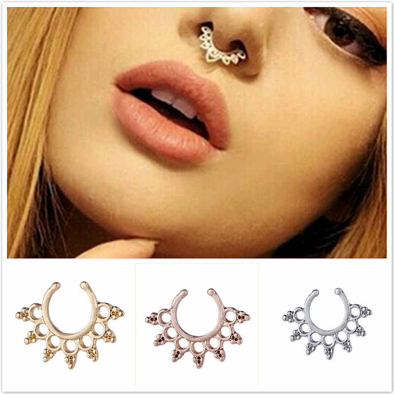 Fake Septum Medical Titanium Nose Ring Piercing Silver Gold Body