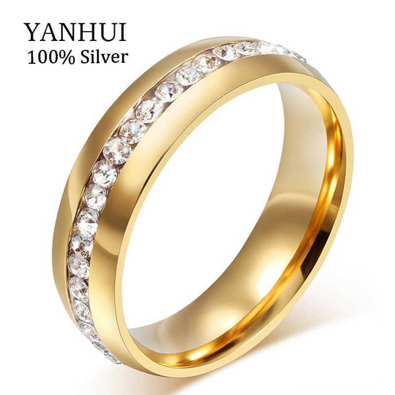 ¡Pierde el dinero 95% DE DESCUENTO! Nunca se desvanecen de oro sólido de Color CZ Diamant los anillos de boda para las mujeres 361L anillo de acero inoxidable al por mayor JZR042