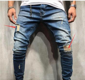 Men's Jeans Skinny Slim Fit Straight Ripped Distressed Pleated Knee Hole Denim Pants 2019 Summer Dark Blue Stretch Pencil Jeans 4