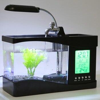 USB настольный мини 1.5 lfish аквариум ЖК-дисплей таймер часы лампа СВЕТОДИОДНАЯ подсветка Будильник Календарь с галькой