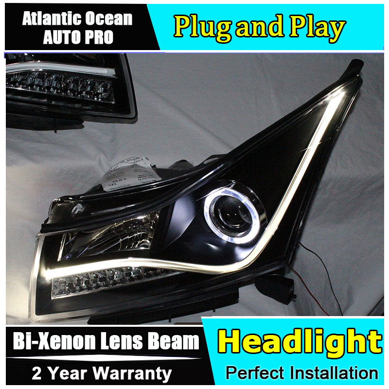 Car Styling Head Lamp for Chevrolet Cruze headlights 2009-2014 LED headlight front lamp led drl HID KIT Bi-Xenon Lens low beam car styling for chevrolet trax led headlights for trax head lamp angel eye led front light bi xenon lens xenon hid kit