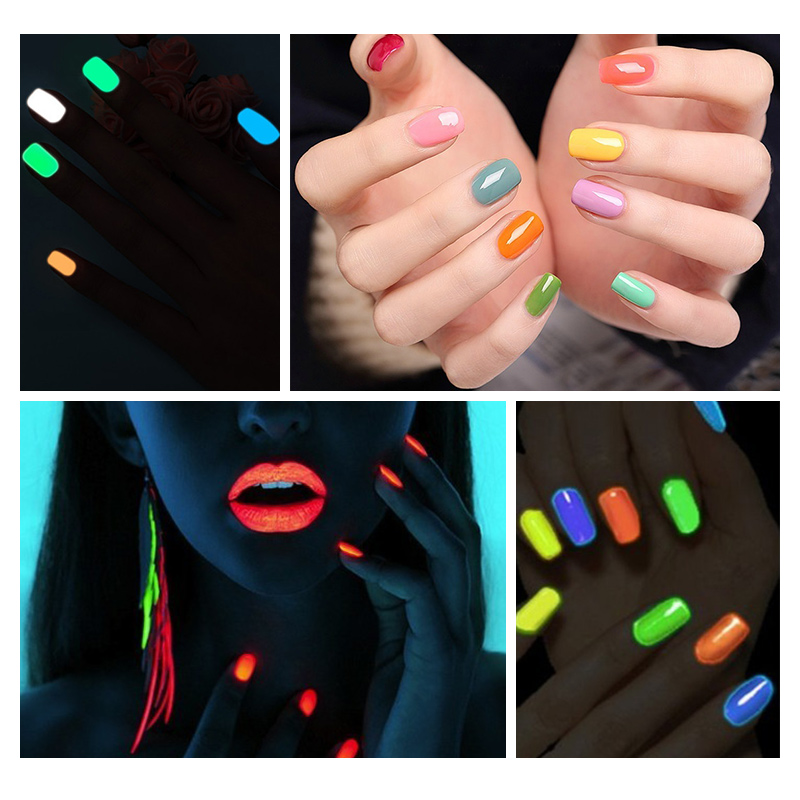 Ellwings Fluorescent Neon Glow In The Dark Light Gel for Nails Color ...