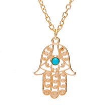 Gold Color Silver Luck Fatima Hand Pendants Necklaces Blue Beads Hollow Statement Charm Clavicle Chain Choker Women Men Jewelry(China)