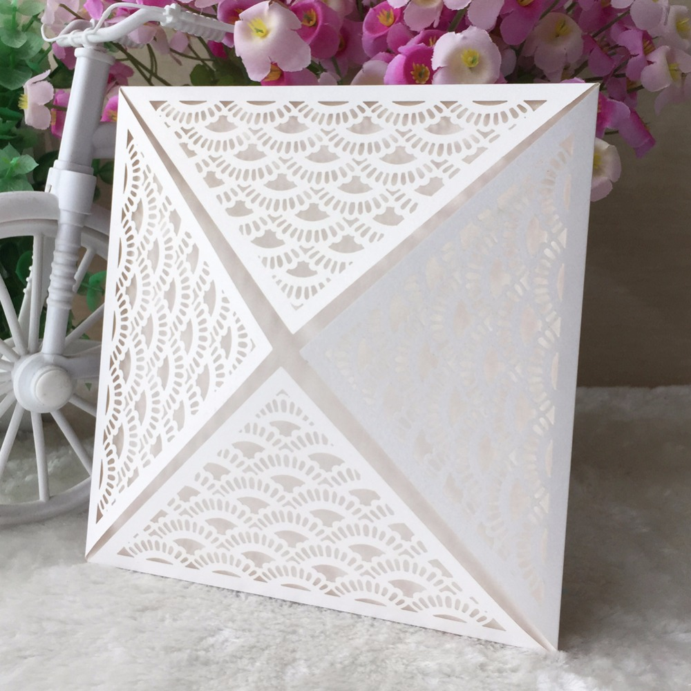 12psc/lot White Wedding Party Invitation Card Delicate Carved Ocean ...
