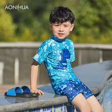 AONIHUA Boys One Piece Swimsuit Toddler Baby Beach Bathing Suit Short Sleeve Surfing Clothing Children Swimwear 1055