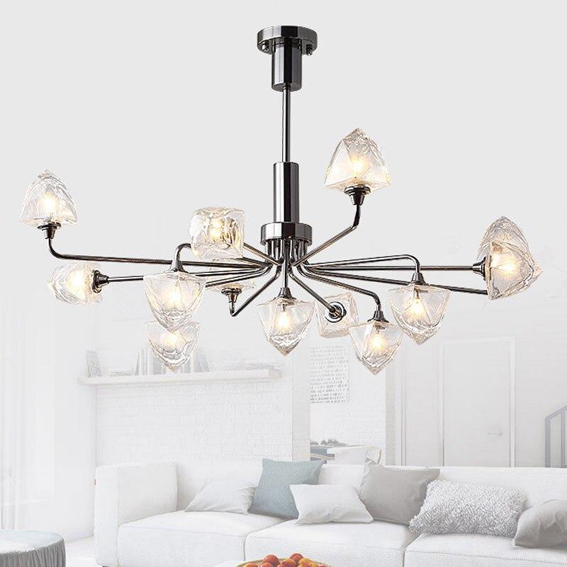 Modern LED Glass Chandelier Ice Cube Dining Room Kitchen Living Room Designer Lighting Luminaire Plating Pearl Black|Pendant Lights| |  - title=