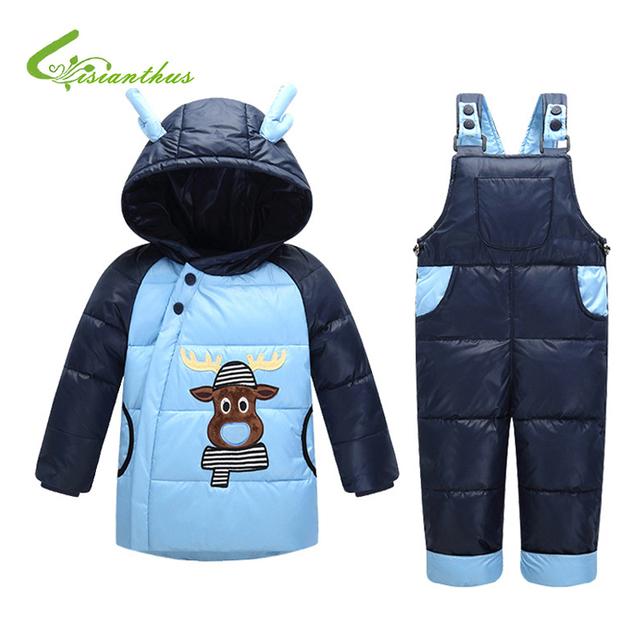 Chaqueta De Invierno los niños Chicos Calientes Con Capucha Abrigos Abrigos Girls Clothing Set Niños Traje de Esquí Bobys Guardapolvos Del Mono para el Bebé