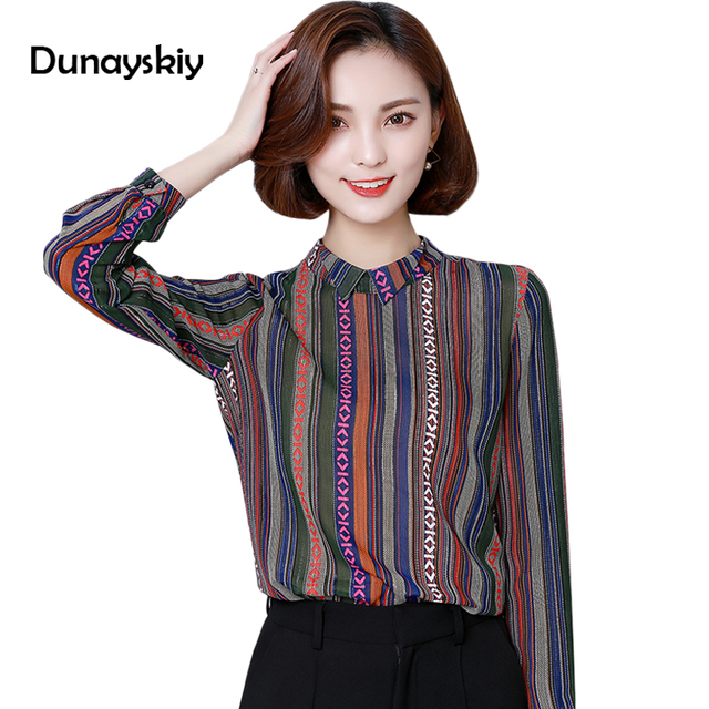 Fashion Striped Shirts Females Office Lady Long Sleeves Turn Down
