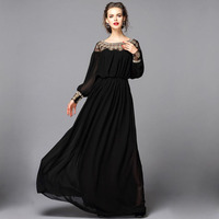 New Arrival 2019 Spring Summer Women's O Neck Long Sleeves Beaded Patchwork Elegant A Line Runway Dresses 3 Colors Plus Sizes
