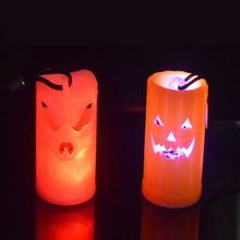 Pumpkin Necklace Round Lights Plastic Lantern Lamp Halloween Party Hanging Decorations Colorful Glowing Toy