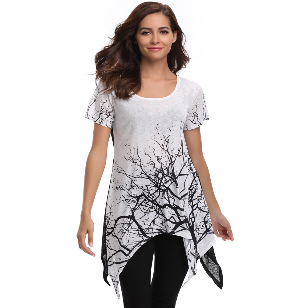 Summer Casual Short Sleeve Knitted Branch Print T-Shirts Women O-Neck Polyester T shirt 2018 White Loose Fit Tunic T shirts 097