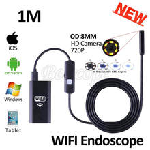 HD720P 8mm Lens 1M Iphone IOS WIFI Endoscope Camera Snake USB Pipe Inspection Borescope Android Phone Tablet PC HD Camera 6LEDS