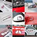 Rosa dos desenhos animados Olá Kitty Adesivos de Carro E Decalques Acessórios Do Carro Definir Auto Carro-Styling Para O Espelho Da Porta Janela Do Corpo Interior
