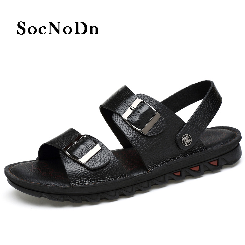 SocNoDn Men Sandals Genuine Leather Breathable 2018 Summer Shoes Male Casual Walking Footwear Retro Leather Sandals Soft