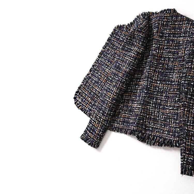 Bureau Veste Dame Élégante Survêtement Femmes Ouvrir Nouvelle Hiver Fringe Point 2018 Automne Tassel Tweed Plaid 3AjSLqR5c4