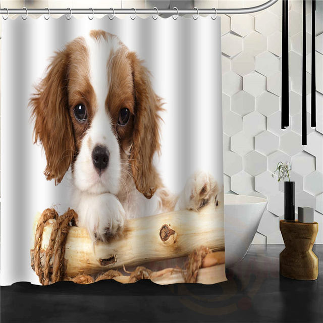Pop Animal Series New Puppy Shower Curtain Pattern Customized Bathroom Fabric Fashion Latest For Decor