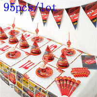 Authorized Disney Cars 95Pcs/lot Paper Cup+Plate+Napkin+Gift Bag Theme Party Boy Birthday Toy Blowout Banner Decoration Supply