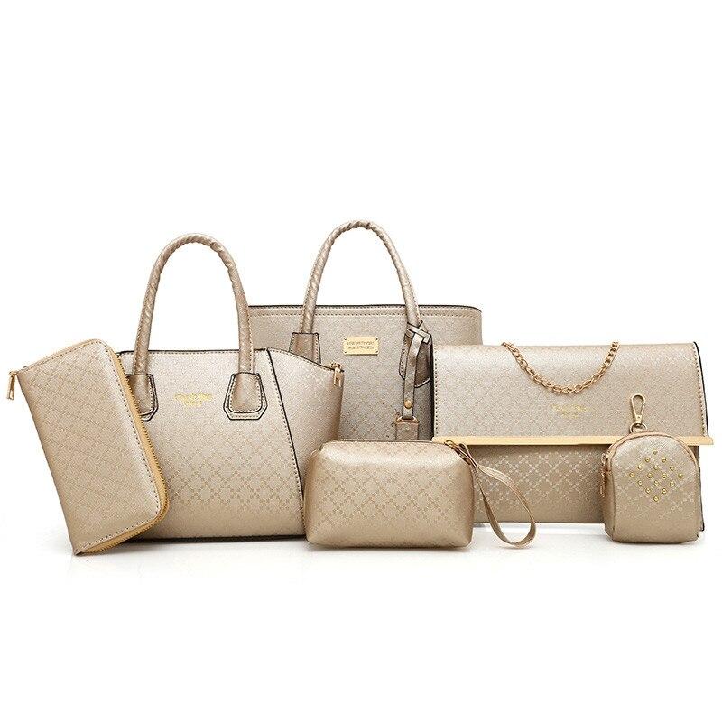 цены на 6 Pcs Argyle Pattern Handbag Set Portable Bag Old Classical Patchwork Rivet Zipper Head Handbag Casual Shoulder Messeng в интернет-магазинах