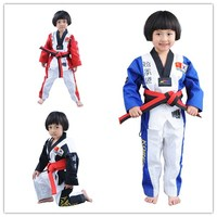 Wholesale PineTree Taekwondo Uniform TKD Dobok WTF Logo MOOTO For Child Kids Girls Uniforms Clothes Suit