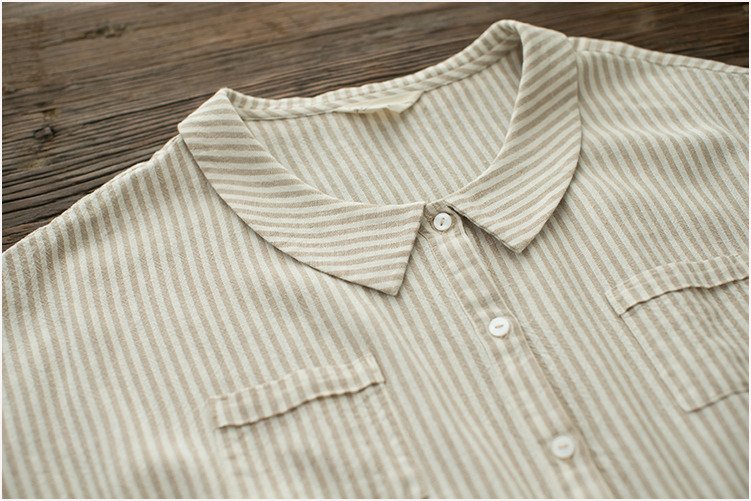 bafbfe518130 Summer Korean Linen Peter Pan Collar Striped T Shirt Dress Women Elastic  Waist Casual Office Lady Clothes New Fashion Dresses-in Dresses from Women s  ...