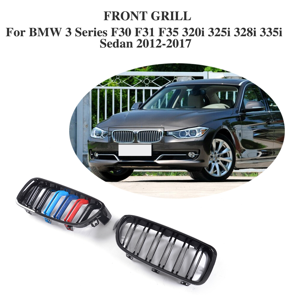 ABS Front Bumper Grille Cover Trim Accessories For BMW 3 Series F30 F31 F35 320i 325i 328i 335i Sedan 2012-2017 3 series carbon front bumper racing grill grills for bmw f30 f31 standard sport 12 16 320i 325i 330i 340i non m3 style car cover