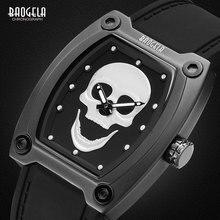 BAOGELA 2018 Skeleton Quartz Watches Men Sports Army Military Wristwatch Luminous Waterproof Silicone Band Man 1801BLACK White