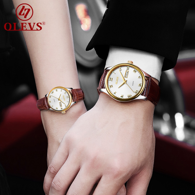 OLEVS relogio Watch men Luxury women watches Fashion Couple watch Leather Business Quartz Wrist watch date waterproof Clock saat