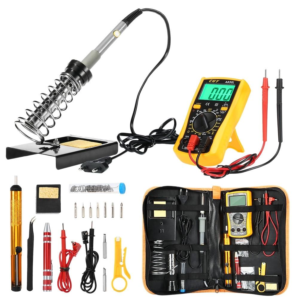 Multi functional 60W Soldering Iron Kits Adjustable Temperature Welding Tool Advanced Digital Multimeter Mobile PC Repair Tools