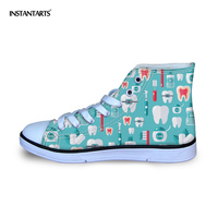 INSTANTARTS Children Outside High Top Flats Shoes 3D Dentist Equipment Print Boy Girl Lace Up Casual Shoes Kids Walk Canvas Shoe