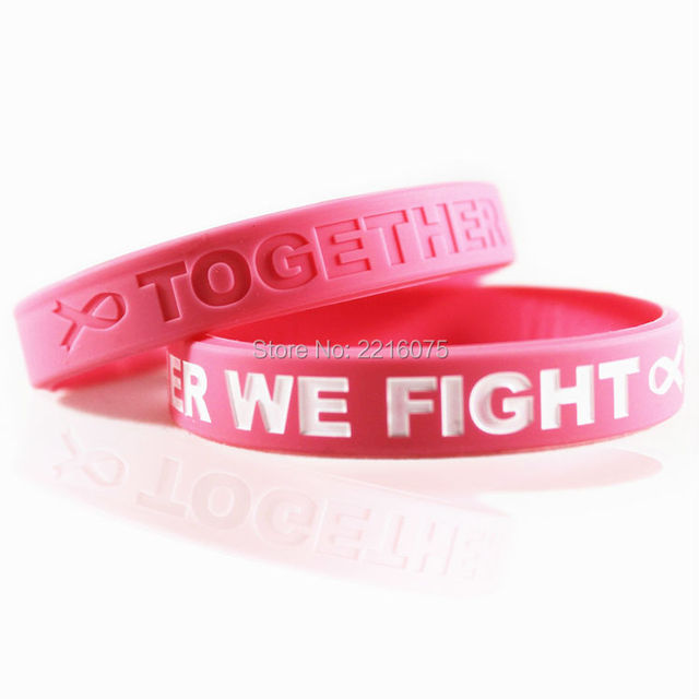 300pcs Together We Fight T Cancer Awareness Pink Ribbon Silicone Wristband Rubber Bracelets Free Shipping By