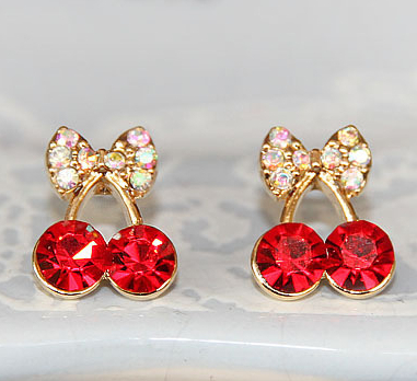 Promotion Korean Exquisite Sweet Girls Fashion Brincos Cystal Cherry Bowknot Accessories Stud Earrings E2395