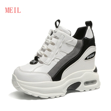 Women White Shoes Woman Wedge Platform Sneakers Slimming Chunky Trainers Hidden Height Increase 9CM Breathable