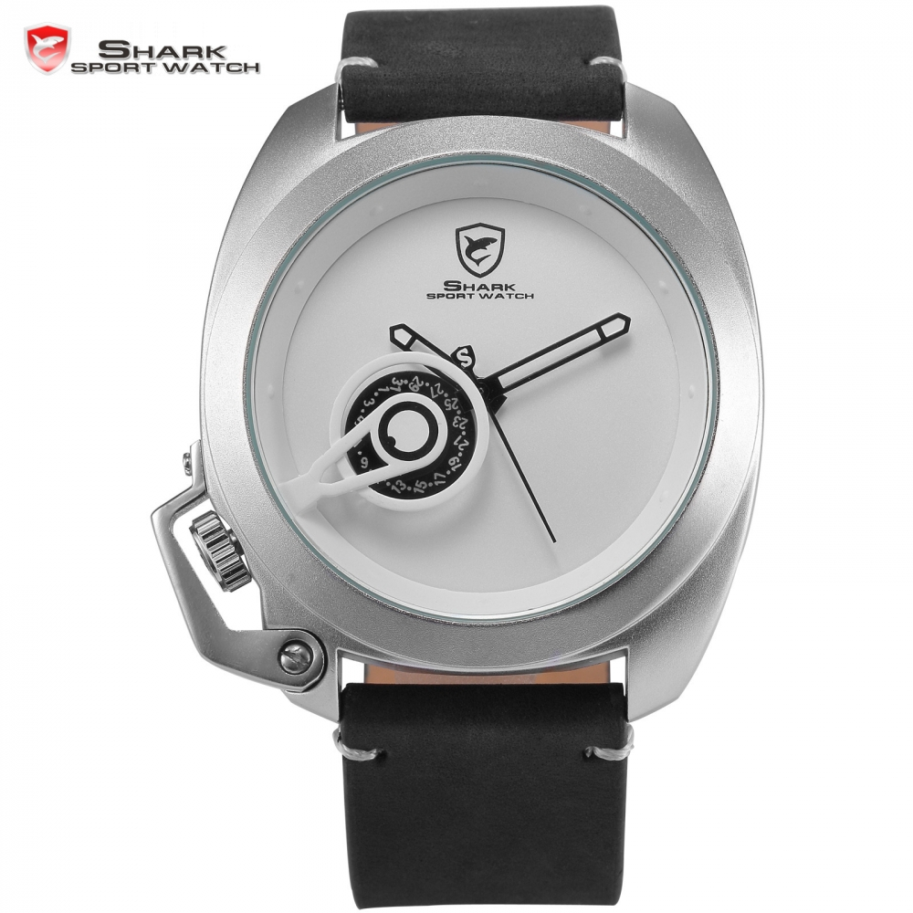 Brand Tawny Shark Sport Watch White Stylish Date Crown-guard Design Leather Band Waterproof Men Gent Military Wristwatch /SH450 велосипед pegasus piazza gent 7 sp 28 2016