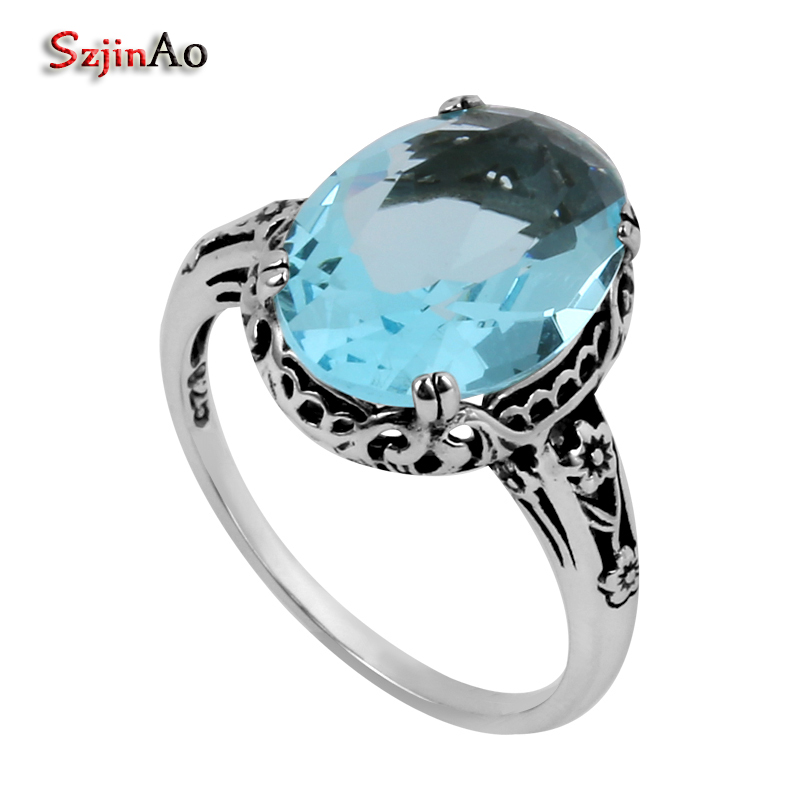 Szjinao 925 silver jewelry border flowers fret antique jewelry replica aquamarine women 925 sterling silver ring