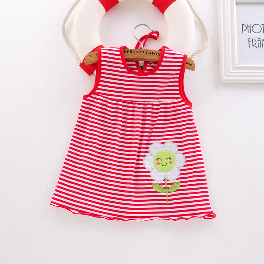 Toddler Cute Baby Cotton Flower Children Dot Striped Tees Dress T-Shirt Vest Dress For Girls Fluffy Dress Elegant For Girls