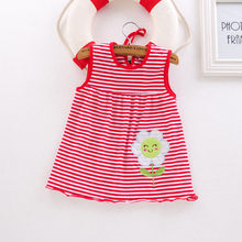 Toddler Cute Baby Cotton Flower Children Dot Striped Tees Dress T-Shirt Vest dress for girls fluffy dress elegant for girls(China)