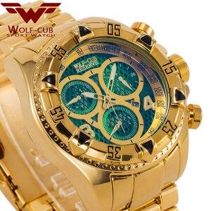 Image 2 - Оригинальные мужские часы с золотым календарем, украшенные большим циферблатом, 6 контактная спиральная Корона, спортивные часы США, мужские часы с волком кубом