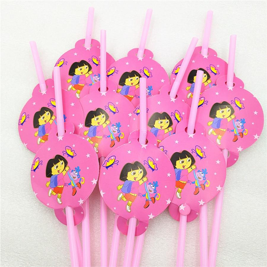 10pcsbag Dora Party Supplies Drinking Straws Cartoon Birthday Party